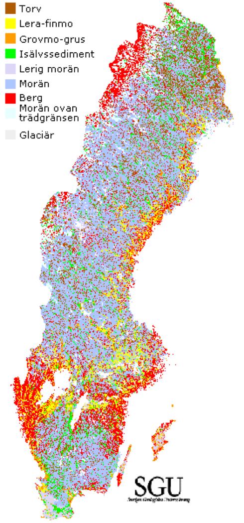 Karta Over Sveriges 25 Landskap.Jordart Externwebben