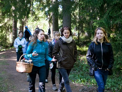 students walking in the forest. photo