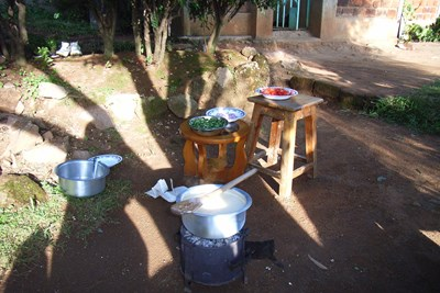 A cooking pot on a simple woodsaving stove in Kenya.