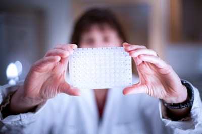 A woman is holding lab equipment in the form of a white rectangel in front of her face, photo.