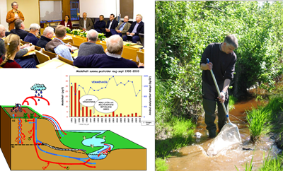 Collage: Photo of people in a meeting room; photo of a man in a stream with a sampling net; schematic illustration showing the transport of water in the landscape.
