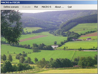 A window in a computer program, with a photo of an agricultural landscape in the background.