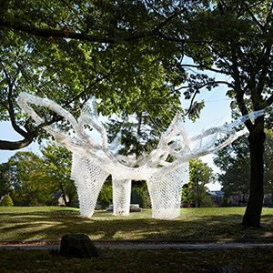 An artwork made out of plastic cups placed between trees in a park.