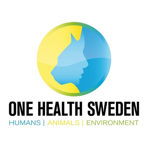 "Logga med texten ""One Health Sweden. Humans, Animals, Environment"". Illustration."