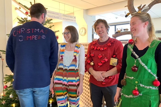 Four people in christmas jumpers.