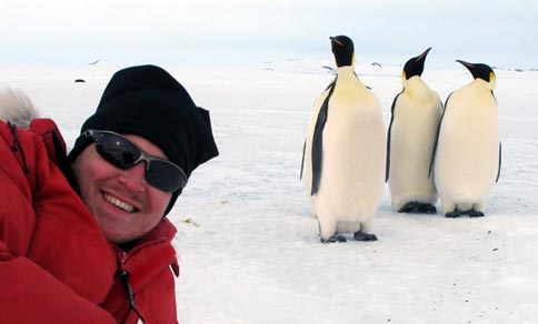Photo: Albin Gräns with penguins.