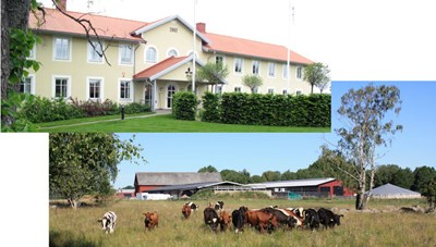 Photo: The research building, SLU, Skara and a photo of Götala research farm.