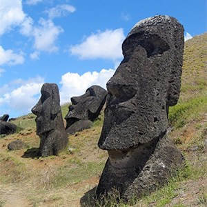 Big stone faces on Easter Island, photo.