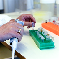 A hand holding a pipette in a lab environment. Photo.