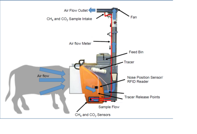 Schematic picture over how an equipment that measures green house gases from cows work. Illustration.
