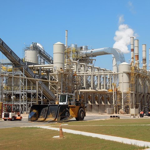 Enviva wood pellet mill in Sampson County, North Carolina, USA.