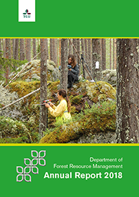 Frontpage of departments Annual Report 2018. Two people measuring trees. Text and photo.