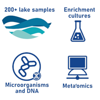 Symbols for a lake, a lab flask, microorganisms and DNA, and a computer.