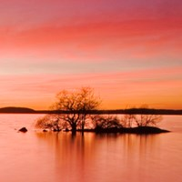 Sunset over a lake. The sky is red. Photo.