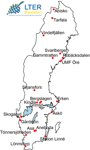 Map of Sweden with the LTER sites. Illustration.
