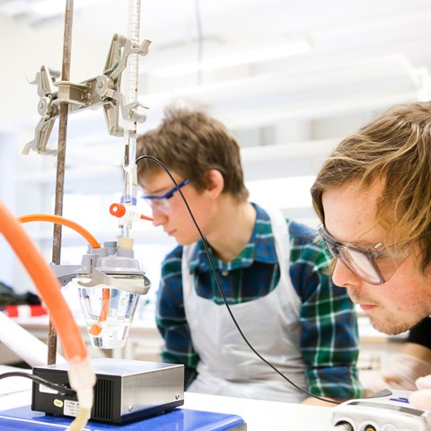 Two students are working in a laboratory, photo.