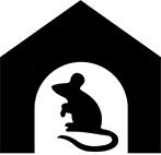 Illustration av en mus i ett hus